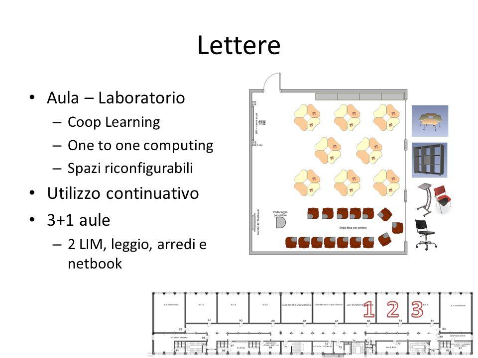 Lettere Aula – Laboratorio – Coop Learning – One to one computing – Spazi riconfigurabili Utilizzo continuativo 3+1 aule – 2 LIM, leggio, arredi e net