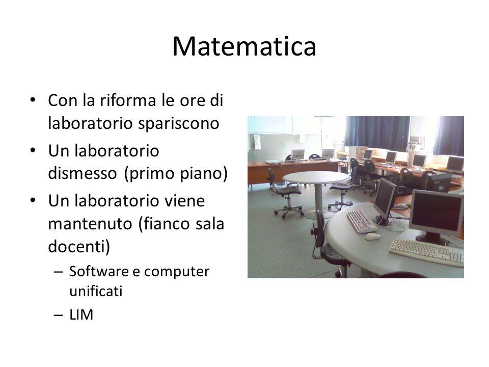 Matematica Con la riforma le ore di laboratorio spariscono Un laboratorio dismesso (primo piano) Un laboratorio viene mantenuto (fianco sala docenti) – Software e computer unificati – LIM
