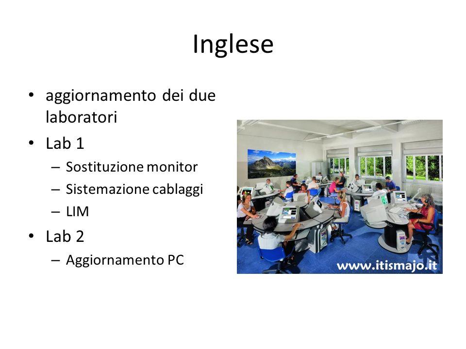 Inglese aggiornamento dei due laboratori Lab 1 – Sostituzione monitor – Sistemazione cablaggi – LIM Lab 2 – Aggiornamento PC