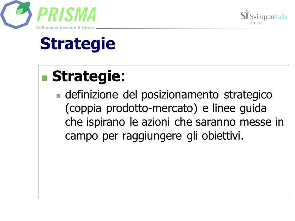 Strategie Strategie: definizione del posizionamento strategico (coppia prodotto-mercato) e linee guida che ispirano le azioni che saranno messe in cam