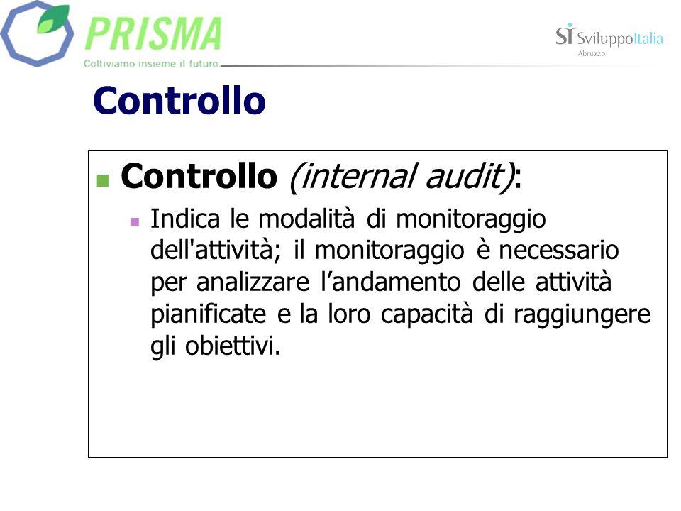 Controllo Controllo (internal audit): Indica le modalità di monitoraggio dell'attività; il monitoraggio è necessario per analizzare landamento delle a