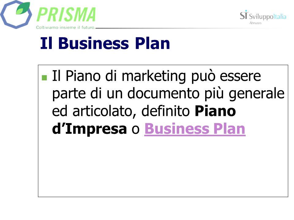 Il Business Plan Il Piano di marketing può essere parte di un documento più generale ed articolato, definito Piano dImpresa o Business PlanBusiness Pl