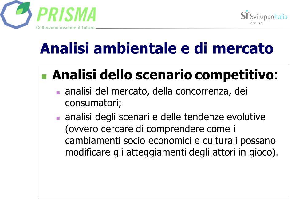 Analisi ambientale e di mercato Analisi dello scenario competitivo: analisi del mercato, della concorrenza, dei consumatori; analisi degli scenari e d