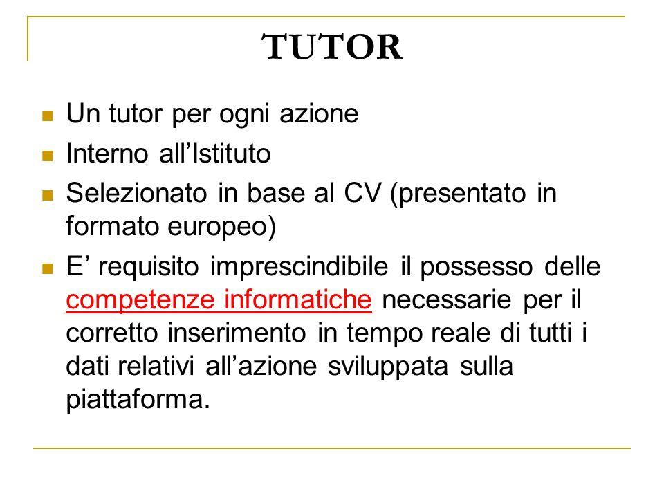 TUTOR Un tutor per ogni azione Interno allIstituto Selezionato in base al CV (presentato in formato europeo) E requisito imprescindibile il possesso d