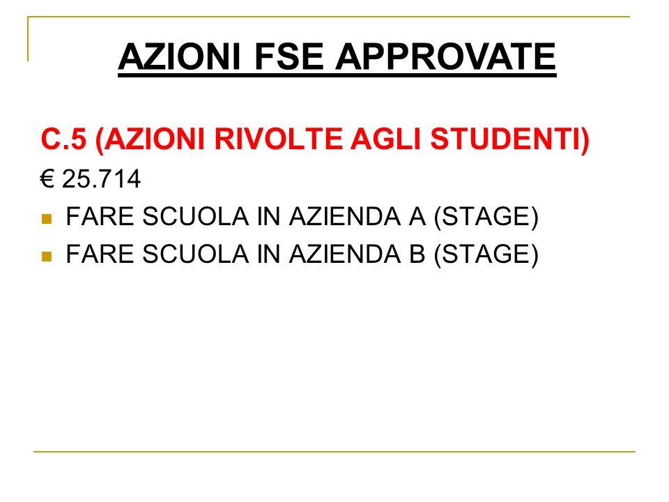 AZIONI FSE APPROVATE C.5 (AZIONI RIVOLTE AGLI STUDENTI) 25.714 FARE SCUOLA IN AZIENDA A (STAGE) FARE SCUOLA IN AZIENDA B (STAGE)