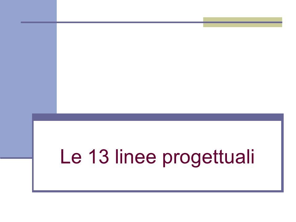 Le 13 linee progettuali