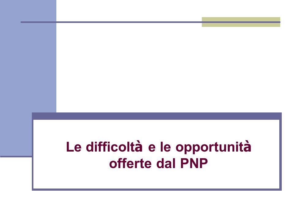 Le difficolt à e le opportunit à offerte dal PNP