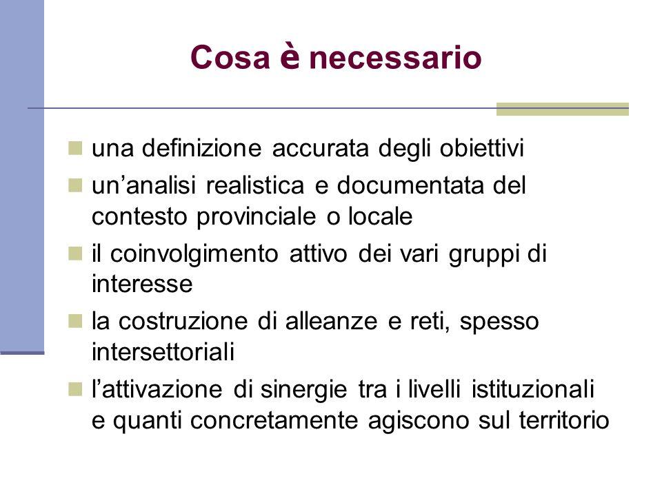 Cosa è necessario una definizione accurata degli obiettivi unanalisi realistica e documentata del contesto provinciale o locale il coinvolgimento atti