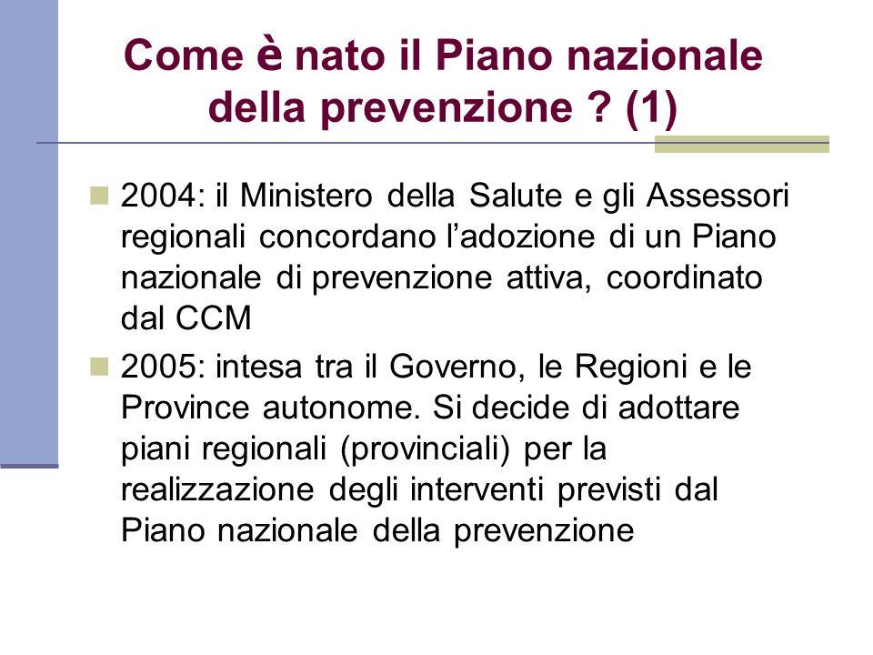 Come è nato il Piano nazionale della prevenzione ? (1) 2004: il Ministero della Salute e gli Assessori regionali concordano ladozione di un Piano nazi