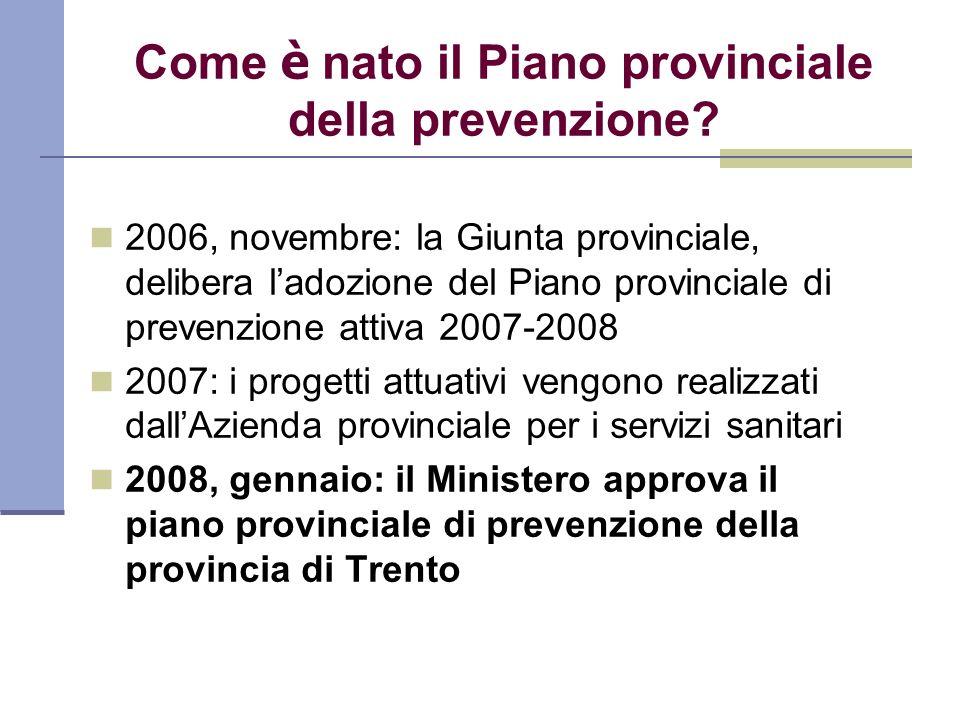 Come è nato il Piano provinciale della prevenzione? 2006, novembre: la Giunta provinciale, delibera ladozione del Piano provinciale di prevenzione att