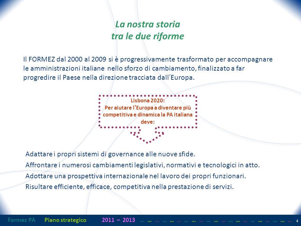 Formez PAPiano strategico2011– 2013 …… … …… … …… … …… … …… … …… … …… … 4 4 La nostra storia tra le due riforme Il FORMEZ dal 2000 al 2009 si è progressivamente trasformato per accompagnare le amministrazioni italiane nello sforzo di cambiamento, finalizzato a far progredire il Paese nella direzione tracciata dallEuropa.