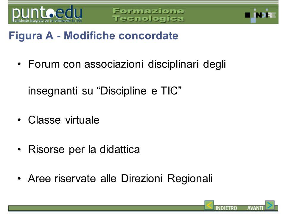 Forum con associazioni disciplinari degli insegnanti su Discipline e TIC Classe virtuale Risorse per la didattica Aree riservate alle Direzioni Regionali Figura A - Modifiche concordate