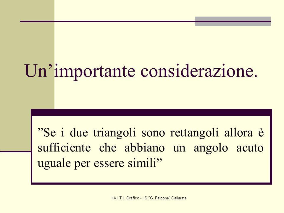 1A I.T.I.Grafico - I.S. G. Falcone Gallarate Unimportante considerazione.