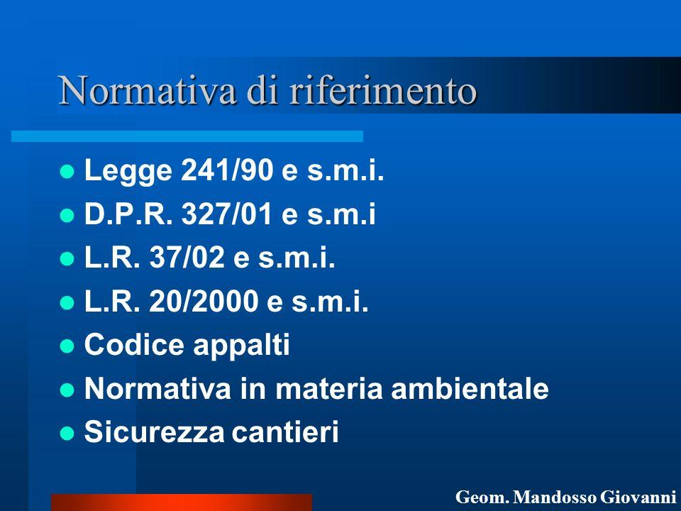 Normativa di riferimento Legge 241/90 e s.m.i. D.P.R. 327/01 e s.m.i L.R. 37/02 e s.m.i. L.R. 20/2000 e s.m.i. Codice appalti Normativa in materia amb