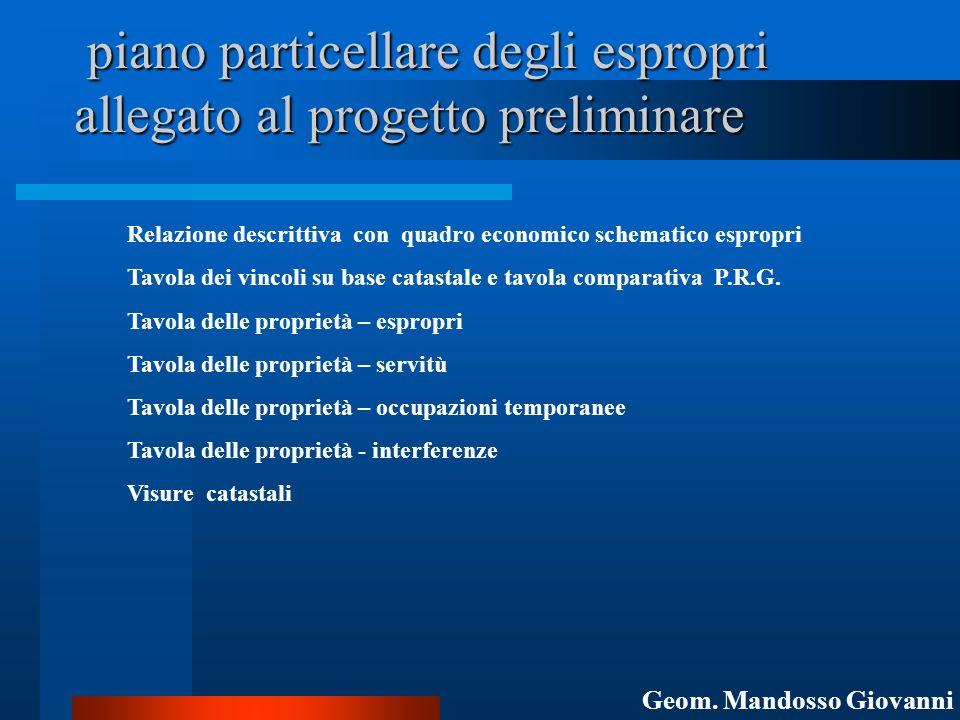 piano particellare degli espropri allegato al progetto preliminare piano particellare degli espropri allegato al progetto preliminare Relazione descri