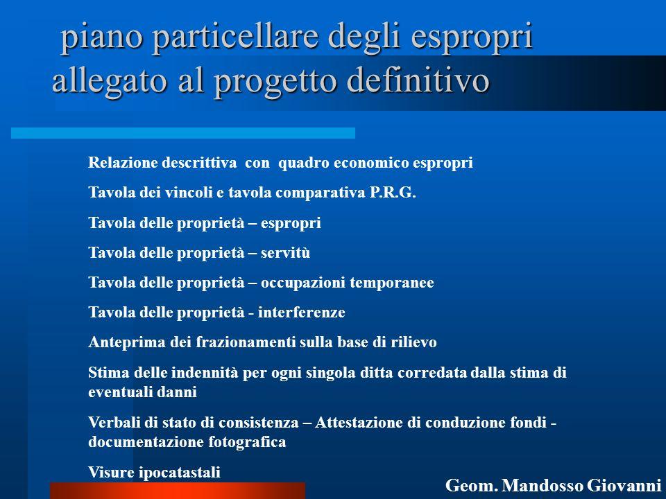 piano particellare degli espropri allegato al progetto definitivo piano particellare degli espropri allegato al progetto definitivo Relazione descritt