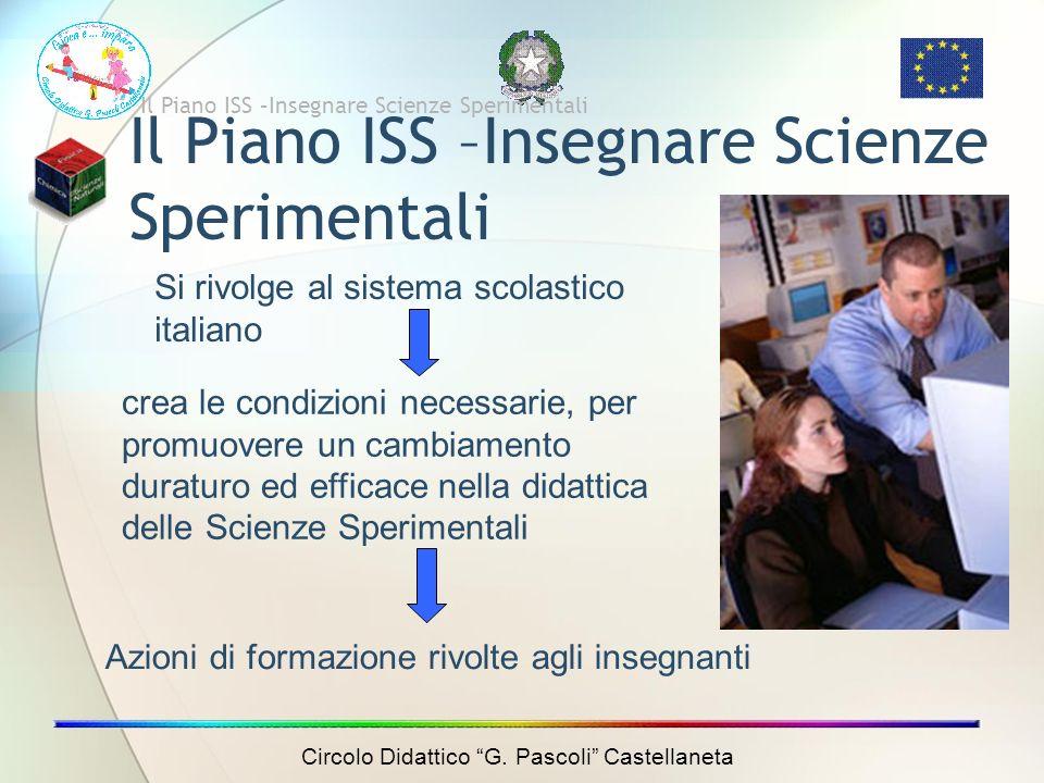 Il Piano ISS –Insegnare Scienze Sperimentali Si rivolge al sistema scolastico italiano crea le condizioni necessarie, per promuovere un cambiamento duraturo ed efficace nella didattica delle Scienze Sperimentali Azioni di formazione rivolte agli insegnanti Il Piano ISS –Insegnare Scienze Sperimentali Circolo Didattico G.