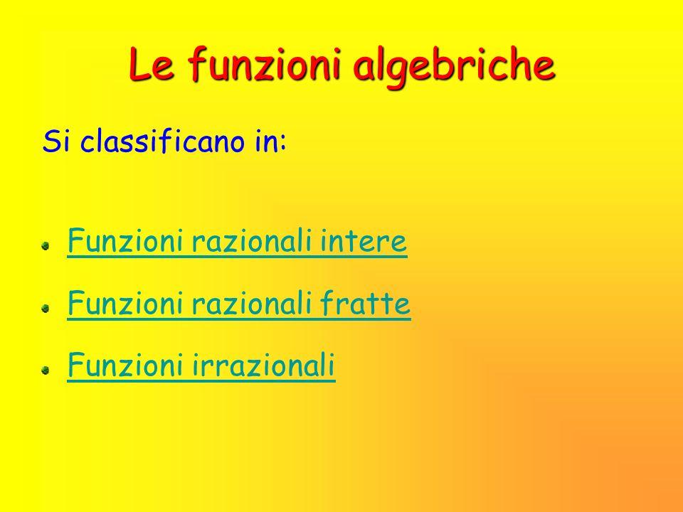 Classificazione delle funzioni Funzioni algebricheFunzioni trascendenti Una funzione trascendente è una funzione non algebrica.