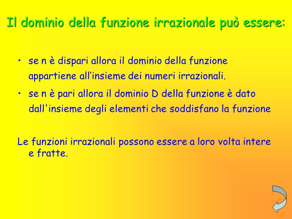 Funzioni irrazionali Le funzioni irrazionali sono quelle per cui, fissato il valore della variabile indipendente x, è possibile determinare il rispettivo valore della y.