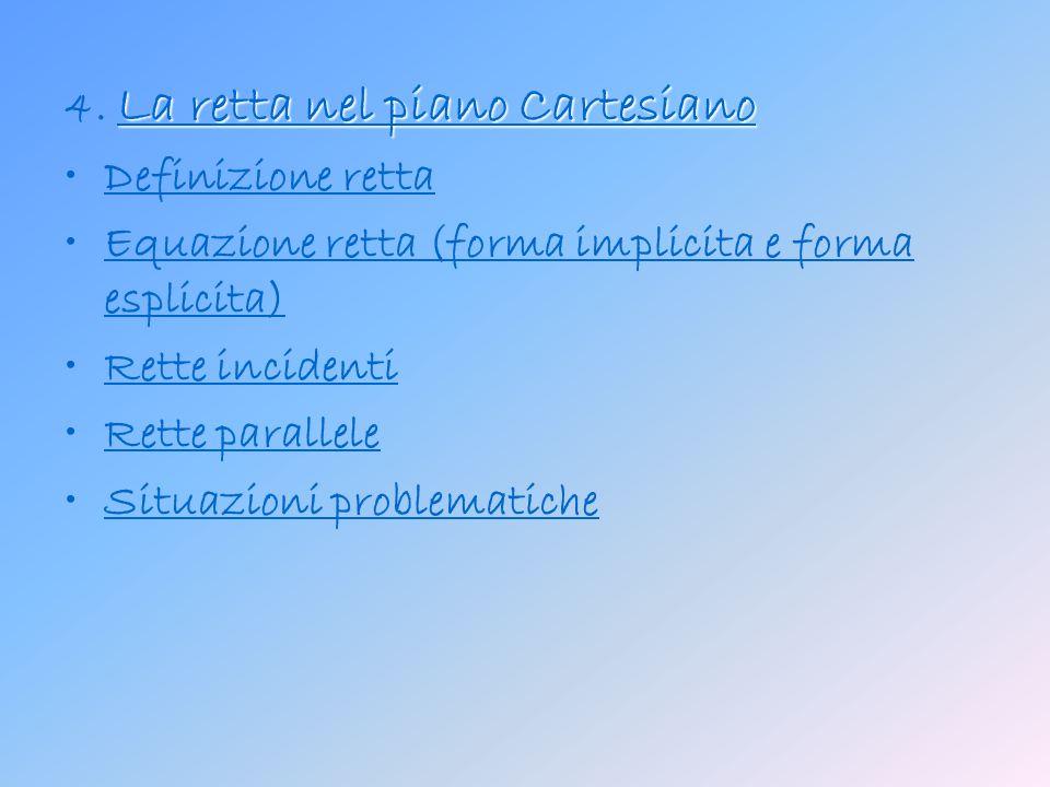 Quadranti Quadranti Il piano cartesiano viene suddiviso in quattro regioni denominate quadranti, indicate mediante numeri romani progressivi in senso antiorario: 1° quadrante: comprende i punti aventi ascissa ed ordinata positive; 2° quadrante: comprende i punti aventi ascissa negativa ed ordinata positiva; 3° quadrante: simmetrico al 1°quadrante rispetto all origine; 4° quadrante: simmetrico al 2° quadrante rispetto all origine.