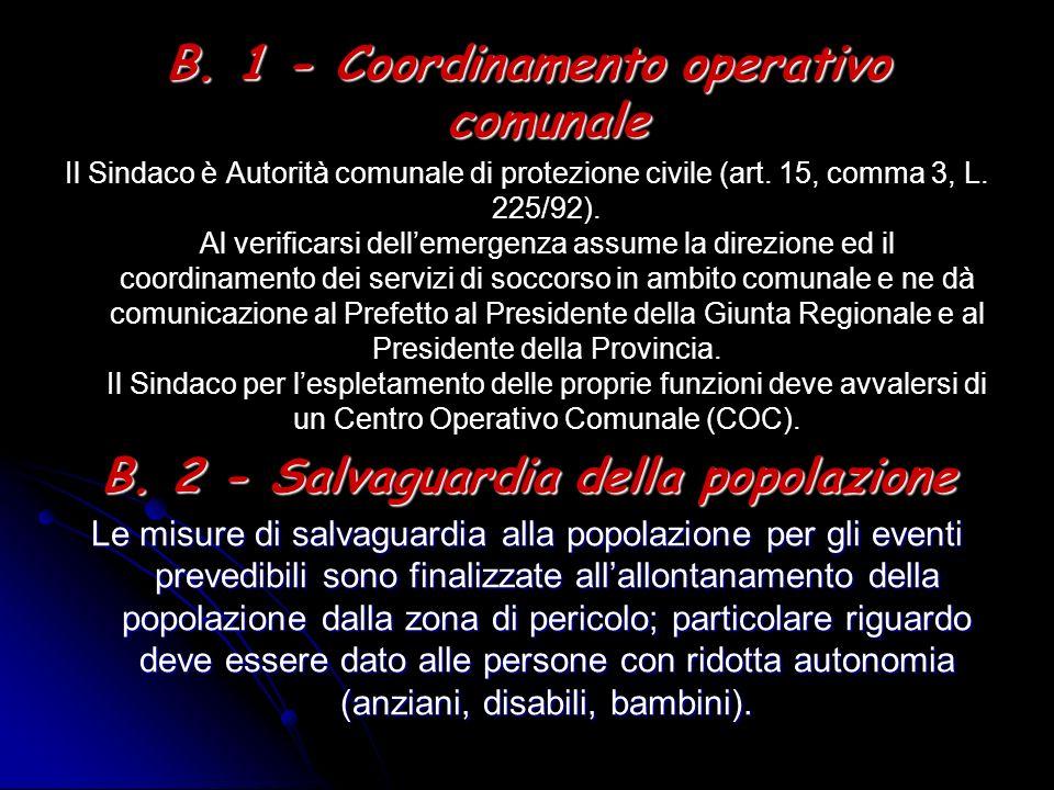 B. 1 - Coordinamento operativo comunale Il Sindaco è Autorità comunale di protezione civile (art. 15, comma 3, L. 225/92). Al verificarsi dellemergenz