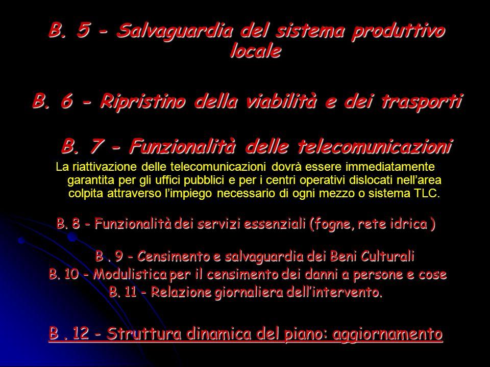 B. 5 - Salvaguardia del sistema produttivo locale B. 6 - Ripristino della viabilità e dei trasporti B. 7 - Funzionalità delle telecomunicazioni La ria