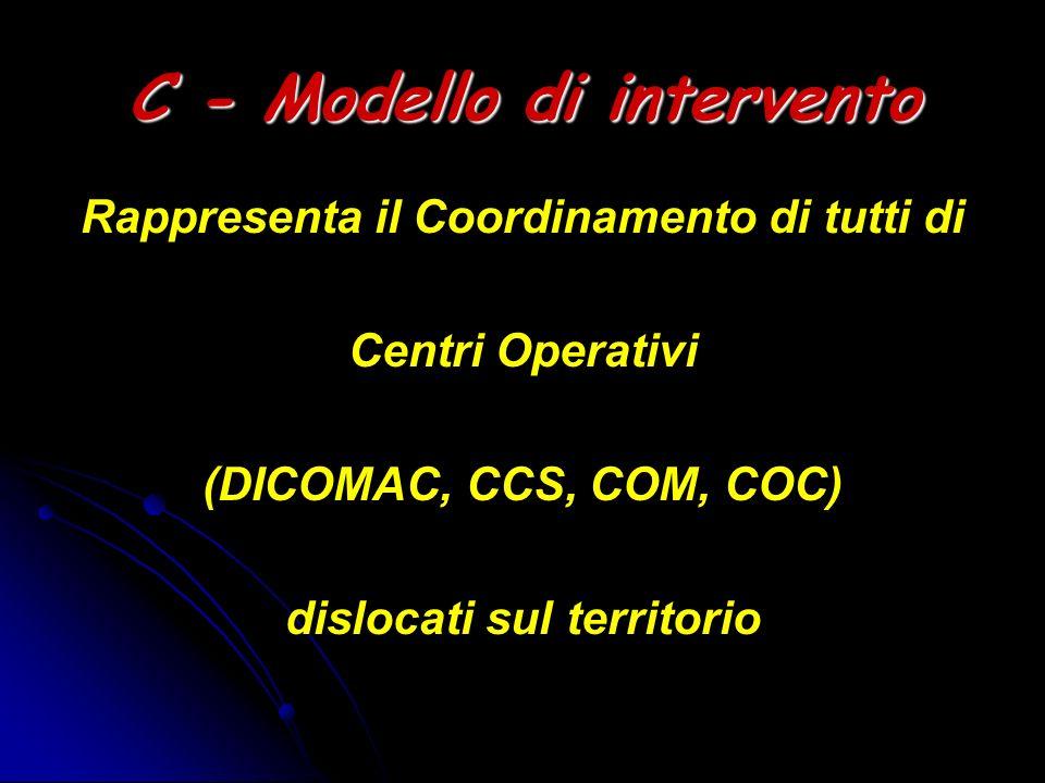 C - Modello di intervento Rappresenta il Coordinamento di tutti di Centri Operativi (DICOMAC, CCS, COM, COC) dislocati sul territorio