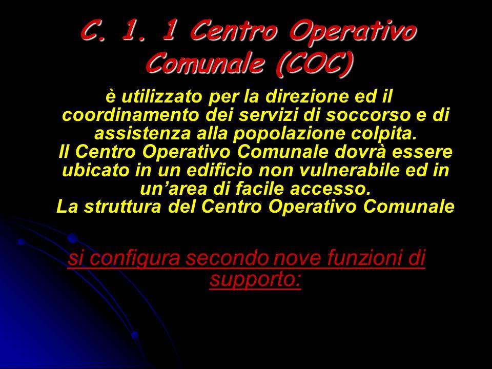C. 1. 1 Centro Operativo Comunale (COC) è utilizzato per la direzione ed il coordinamento dei servizi di soccorso e di assistenza alla popolazione col