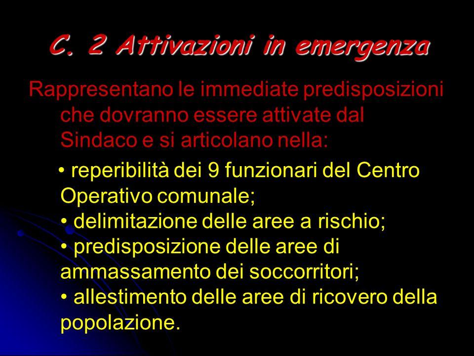 C. 2 Attivazioni in emergenza Rappresentano le immediate predisposizioni che dovranno essere attivate dal Sindaco e si articolano nella: reperibilità