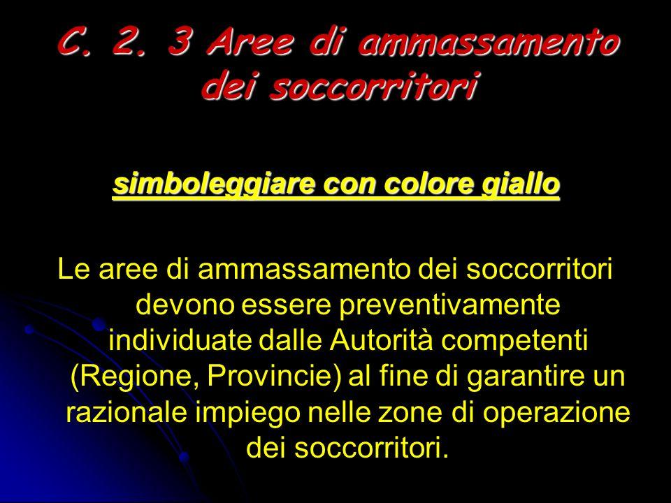 C. 2. 3 Aree di ammassamento dei soccorritori simboleggiare con colore giallo Le aree di ammassamento dei soccorritori devono essere preventivamente i