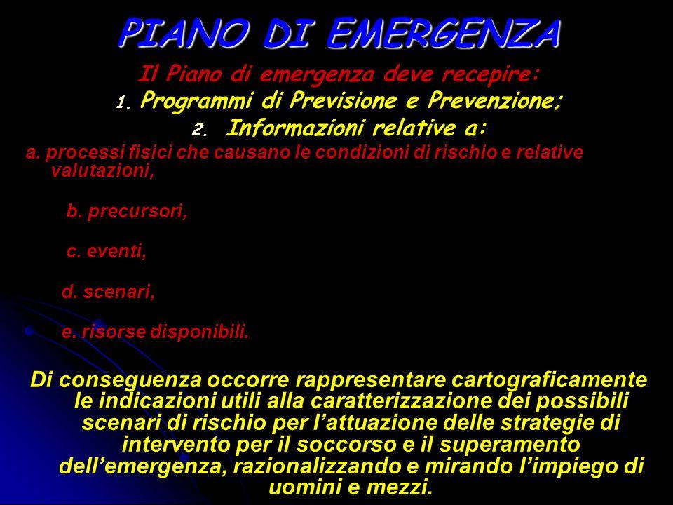 PIANO DI EMERGENZA Il Piano di emergenza deve recepire: 1. 1. Programmi di Previsione e Prevenzione; 2. 2. Informazioni relative a: a. processi fisici