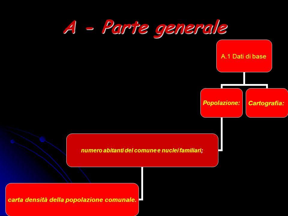A - Parte generale A.1 Dati di base Popolazione: numero abitanti del comune e nuclei familiari; carta densità della popolazione comunale. Cartografia: