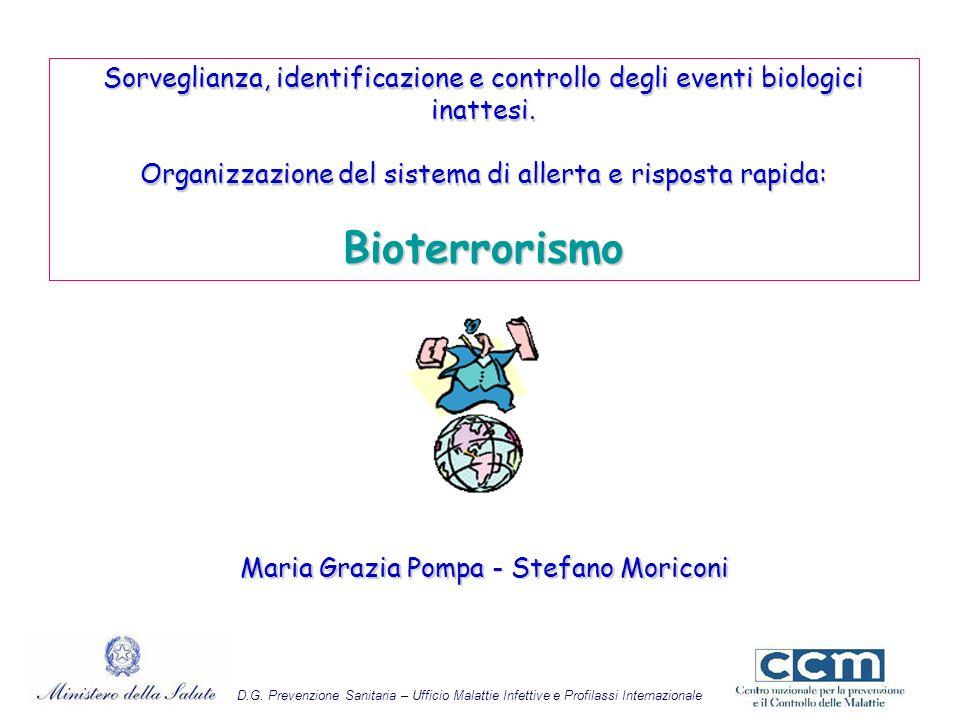 Il Bioterrorismo Esistenza di agenti biologici e la volontà da parte di qualcuno di usarli a scopo offensivo, mediante azioni terroristiche, richiede la preparazione di diversi attori istituzionali nei confronti di ogni possibile evenienza.