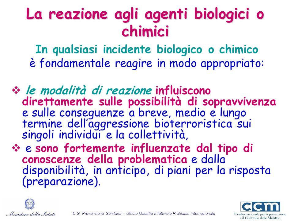La reazione agli agenti biologici o chimici In qualsiasi incidente biologico o chimico è fondamentale reagire in modo appropriato: le modalità di reaz