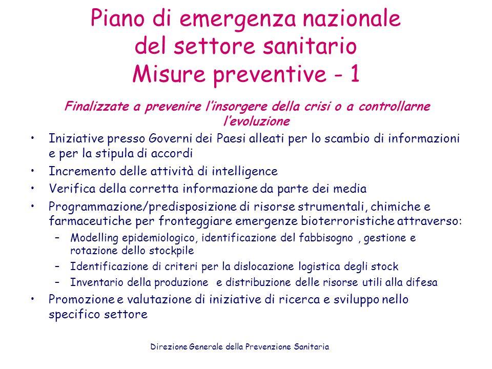 Piano di emergenza nazionale del settore sanitario Misure preventive - 1 Finalizzate a prevenire linsorgere della crisi o a controllarne levoluzione I