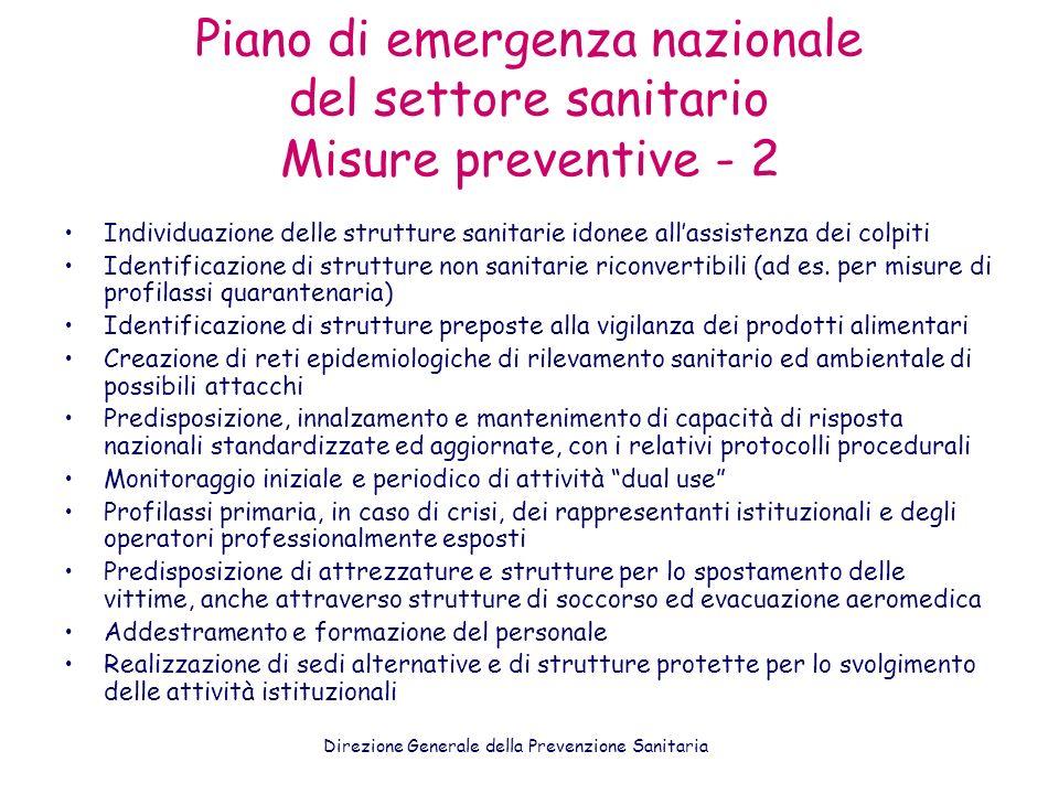 Piano di emergenza nazionale del settore sanitario Misure preventive - 2 Individuazione delle strutture sanitarie idonee allassistenza dei colpiti Ide