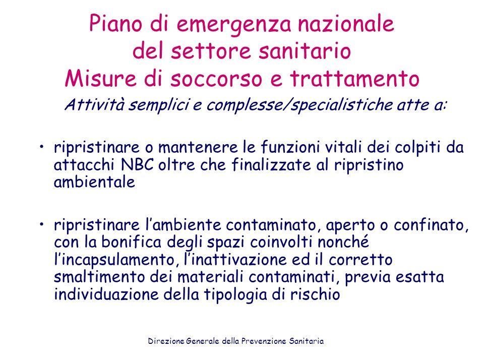 Piano di emergenza nazionale del settore sanitario Misure di soccorso e trattamento Attività semplici e complesse/specialistiche atte a: ripristinare