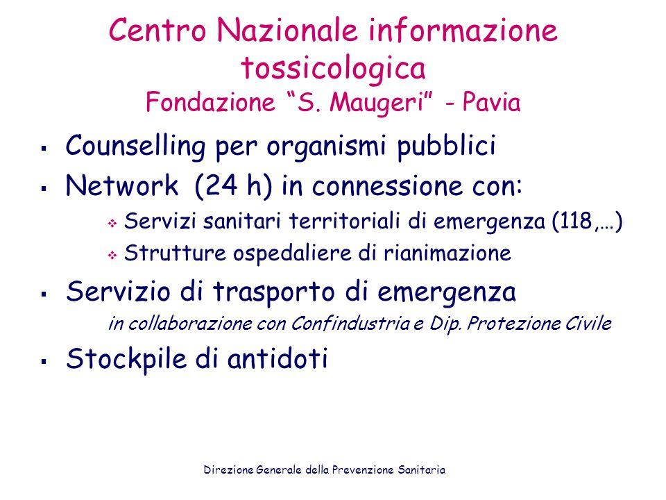 Centro Nazionale informazione tossicologica Fondazione S. Maugeri - Pavia Counselling per organismi pubblici Network (24 h) in connessione con: Serviz