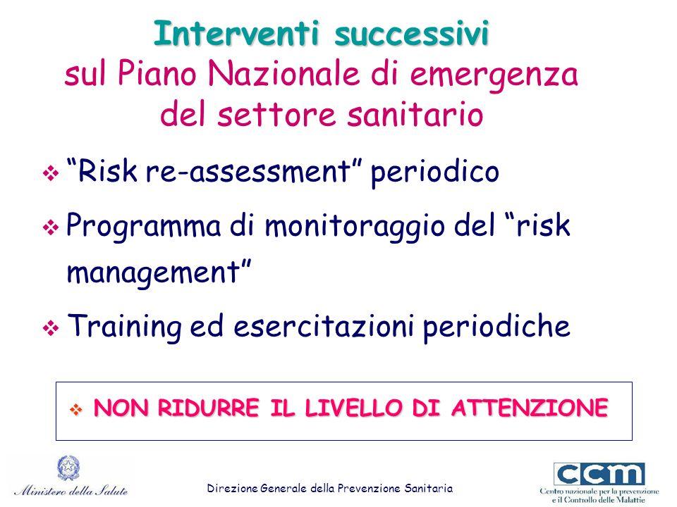 Interventi successivi Interventi successivi sul Piano Nazionale di emergenza del settore sanitario Risk re-assessment periodico Programma di monitorag