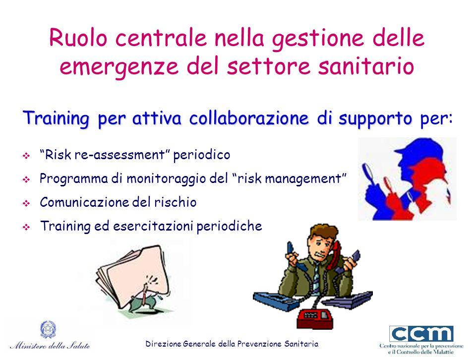 Ruolo centrale nella gestione delle emergenze del settore sanitario Training per attiva collaborazionedi supporto Training per attiva collaborazione d