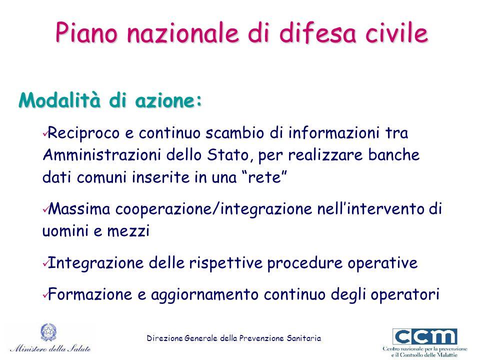 Piano nazionale di difesa civile Modalità di azione: Reciproco e continuo scambio di informazioni tra Amministrazioni dello Stato, per realizzare banc