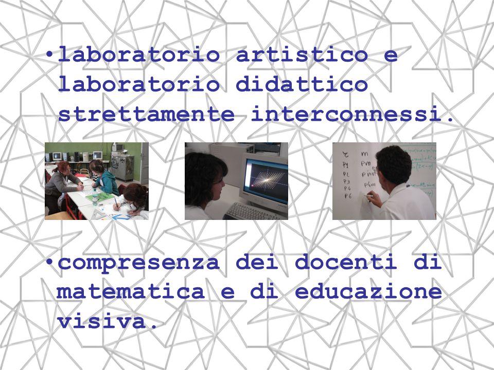 laboratorio artistico e laboratorio didattico strettamente interconnessi. compresenza dei docenti di matematica e di educazione visiva.
