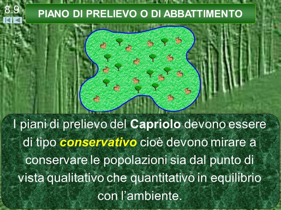 I piani di prelievo del Capriolo devono essere di tipo conservativo cioè devono mirare a conservare le popolazioni sia dal punto di vista qualitativo che quantitativo in equilibrio con lambiente.