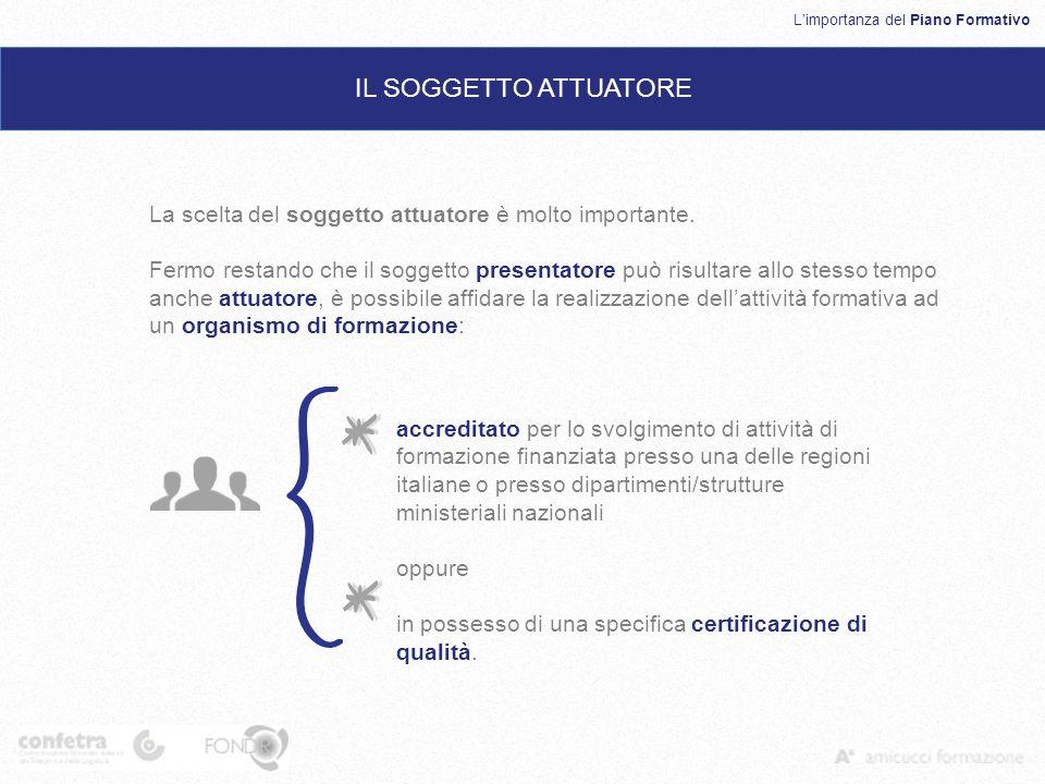 Limportanza del Piano Formativo IL SOGGETTO ATTUATORE accreditato per lo svolgimento di attività di formazione finanziata presso una delle regioni italiane o presso dipartimenti/strutture ministeriali nazionali oppure in possesso di una specifica certificazione di qualità.