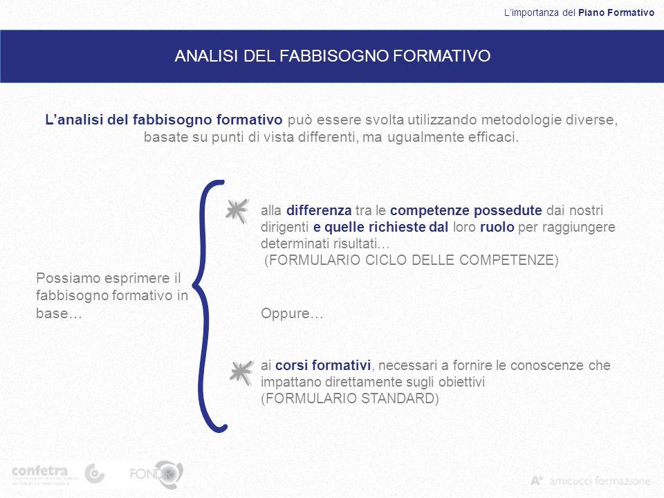 Limportanza del Piano Formativo ANALISI DEL FABBISOGNO FORMATIVO Lanalisi del fabbisogno formativo può essere svolta utilizzando metodologie diverse, basate su punti di vista differenti, ma ugualmente efficaci.