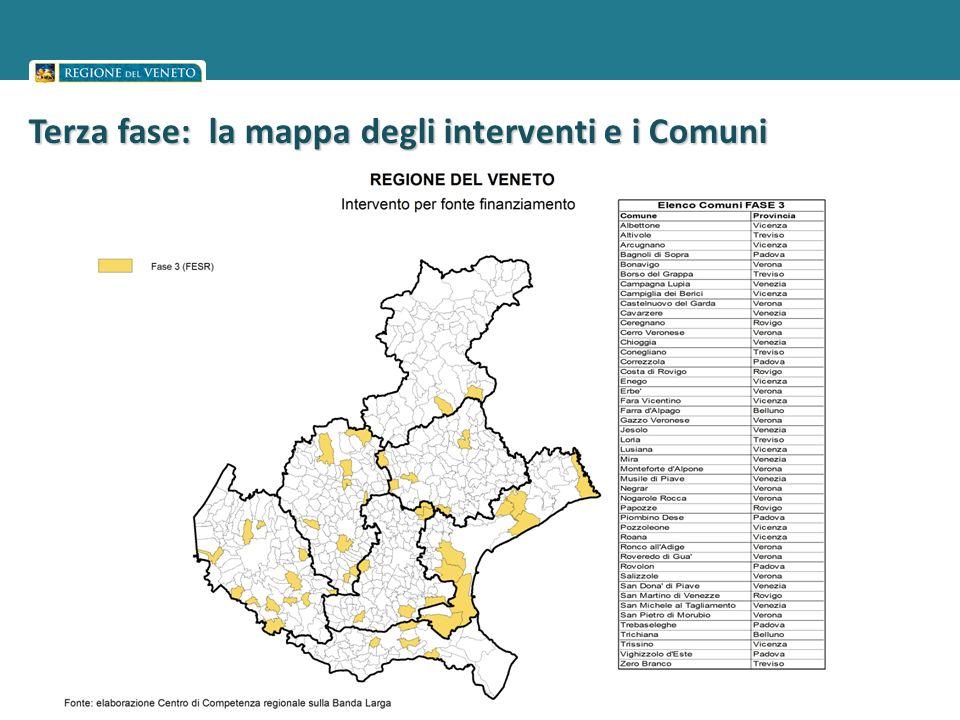Terza fase: la mappa degli interventi e i Comuni interessati