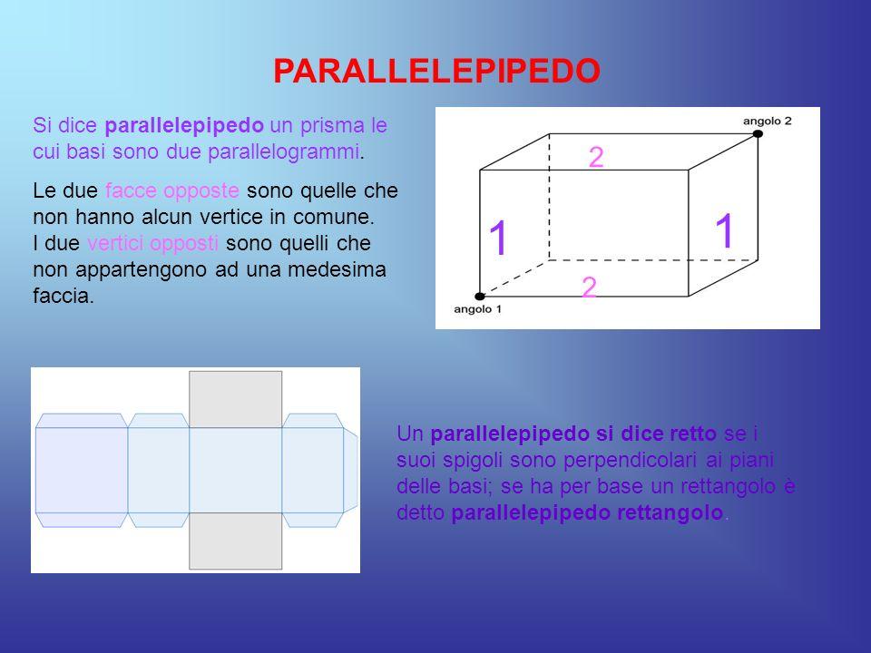 PARALLELEPIPEDO Si dice parallelepipedo un prisma le cui basi sono due parallelogrammi. Le due facce opposte sono quelle che non hanno alcun vertice i