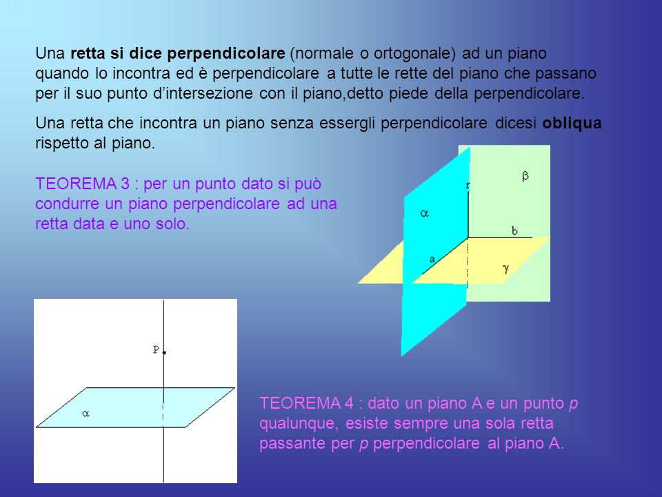Una retta si dice perpendicolare (normale o ortogonale) ad un piano quando lo incontra ed è perpendicolare a tutte le rette del piano che passano per
