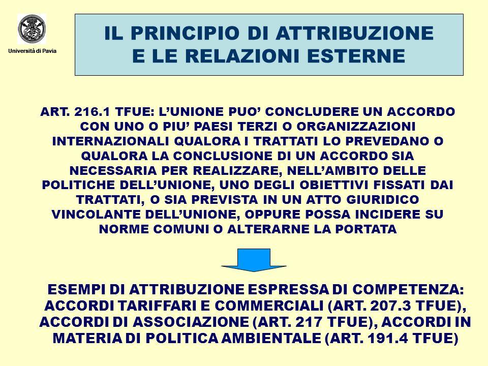 Università di Pavia IL PRINCIPIO DI ATTRIBUZIONE E LE RELAZIONI ESTERNE Università di Pavia ART. 216.1 TFUE: LUNIONE PUO CONCLUDERE UN ACCORDO CON UNO