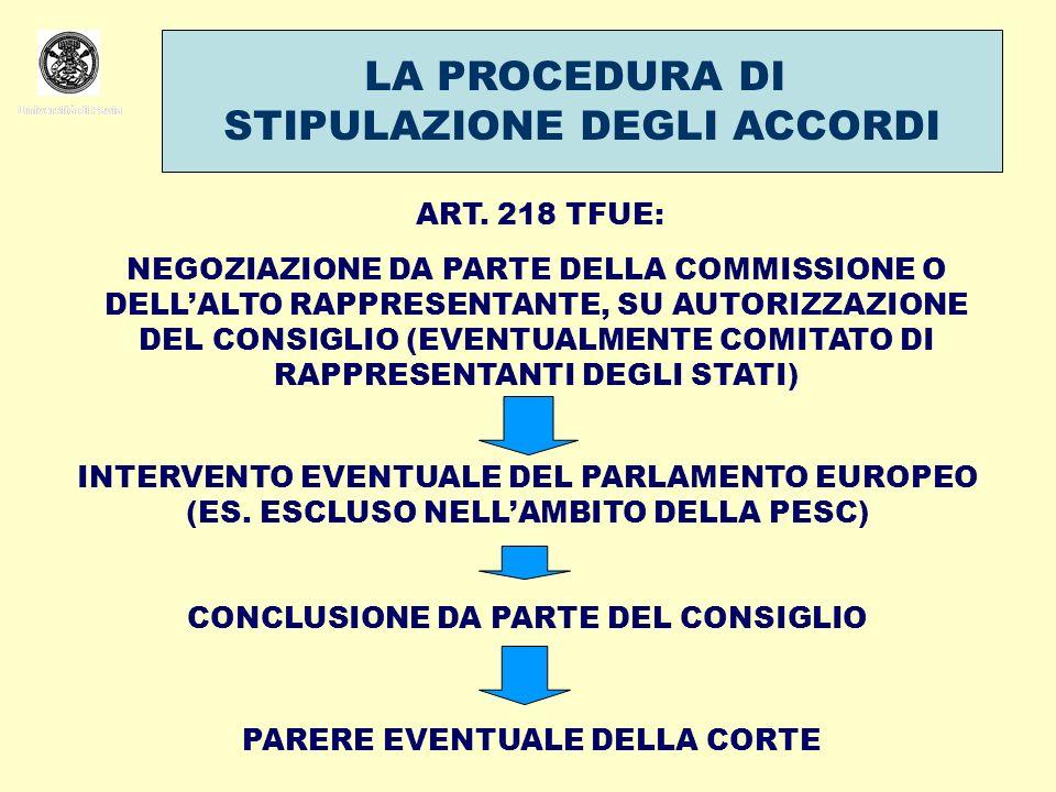 Università di Pavia LA PROCEDURA DI STIPULAZIONE DEGLI ACCORDI Università di Pavia ART. 218 TFUE: NEGOZIAZIONE DA PARTE DELLA COMMISSIONE O DELLALTO R